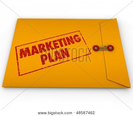 A confidential or secret marketing plan document sealed inside a yellow confidential or classified envelope poster
