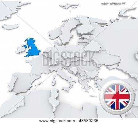 United Kingdom On Map Of Europe