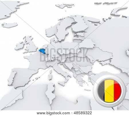 Belgium On Map Of Europe