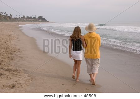 Mother And Daughter Walking 1