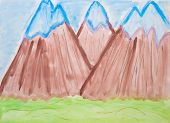 Children's drawing watercolor mountain peaks are covered with snow poster