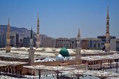 Prophet's Mosque green dome in medina and moving domes in saudi arabia poster