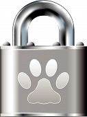 Pet paw print icon on stainless steel padlock vector button poster