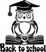 Decorative bird - owl with graduation cap and book isolated on white background. Back to school emblem poster