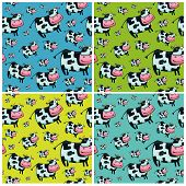 Cute friendly cow. Beautiful pattern.Vector. To see similar please VISIT MY GALLERY. poster