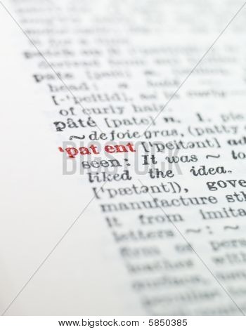 The word patent highlighted in a dictionary
