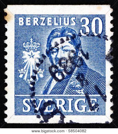 Postage Stamp Sweden 1939 Jons Jacob Berzelius, Chemist