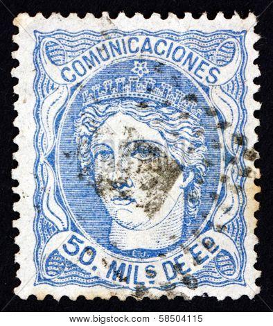 Postage Stamp Spain 1870 Allegory Of Hispania