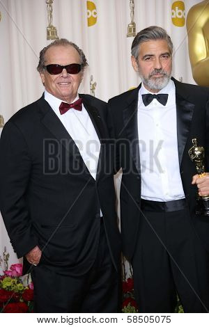 Jack Nicholson, George Clooney at the 85th Annual Academy Awards Press Room, Dolby Theater, Hollywood, CA 02-24-13