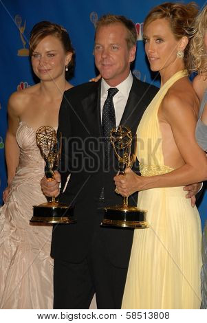 LOS ANGELES - AUGUST 27: Mary Lynn Rajskub with Kiefer Sutherland and Kim Raver in the Press Room at the 58th Annual Primetime Emmy Awards in The Shrine Auditorium August 27, 2006 in Los Angeles, CA.