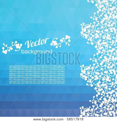 Abstract geometric background of the blue triangles  Bright colors  A lot of space for your text  Floral ornament on the right poster