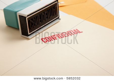"""""""confidential"""" Stamp On Folders"""