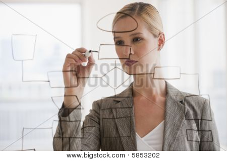 Businesswoman With Flow Chart