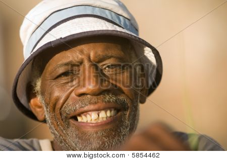 Face shot of african american man grinning