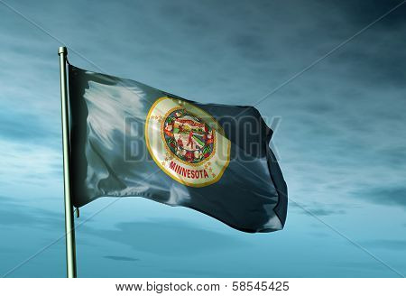 Minnesota (USA) flag waving on the wind