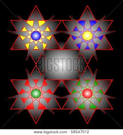 Colored Geometric Figures Magendavid On A Black Background