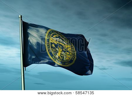 Nebraska (USA) flag waving on the wind