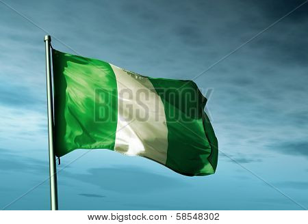 Nigeria flag waving on the wind
