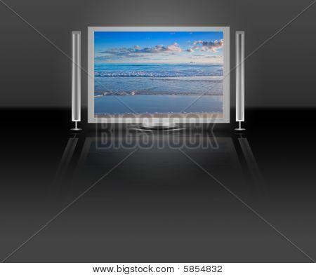 Plasma Lcd Tv With Beach Nature Scene