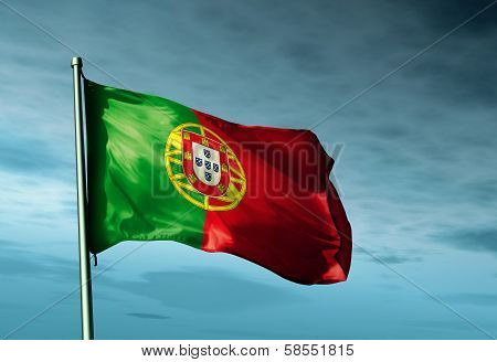 Portugal flag waving on the wind