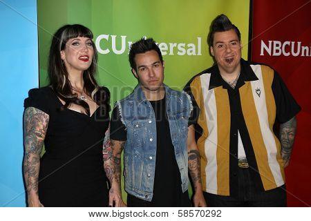 Hannah Aitchison, Pete Wentz and Joe Capobianco at the 2013 NBC Universal Summer Press Day , Langham Huntington Hotel, Pasadena, CA 04-22-13