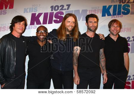 Matt Flynn, PJ Morton, James Valentine, Adam Levine and Mickey Madden of Maroon 5 at the 2013 Wango Tango concert produced by KIIS-FM, Home Depot Center, Carson, CA 05-11-13