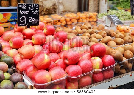 Apples On Market Stand