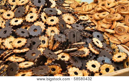 Close Up Of Brown Cakes Coated With Chocolate