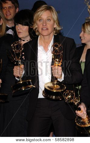 HOLLYWOOD - APRIL 28: Ellen DeGeneres in the press room at The 33rd Annual Daytime Emmy Awards at Kodak Theatre on April 28, 2006 in Hollywood, CA.