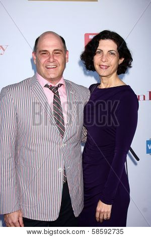 Matthew Weinera and Linda Brettler at the WGA's 101 Best Written Series Announcement, Writers Guild of America Theater, Beverly Hills, CA 06-02-13