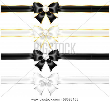 Vector illustration - white and black bows with diamonds gold edging and ribbons. EPS 10 RGB. Created with gradient mesh and blending modes. poster