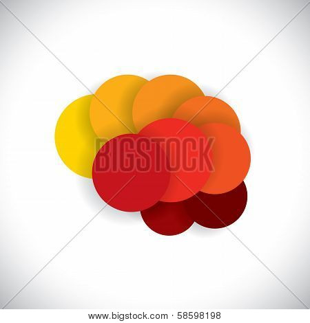 concept vector icon of abstract brain or mind as circles in yellow red and orange colors. poster