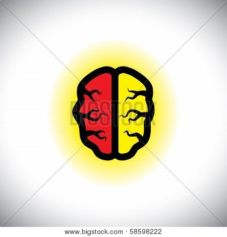 Concept Vector Icon Of Creative, Intelligent Brain