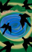 Digital painting of bird flying and pond background poster