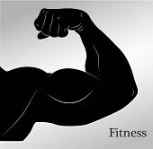 Cartoon biceps (man's arm muscles) vector illustration poster