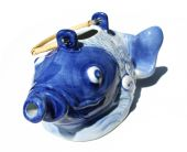 Crazy blue fish tea kettle on a white background poster