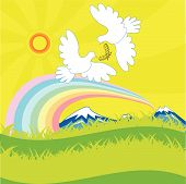 pair white blue on mountain and rainbow poster