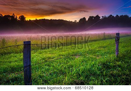 Fog at sunset at Cade's Cove Great Smoky Mountains National Park Tennessee. poster