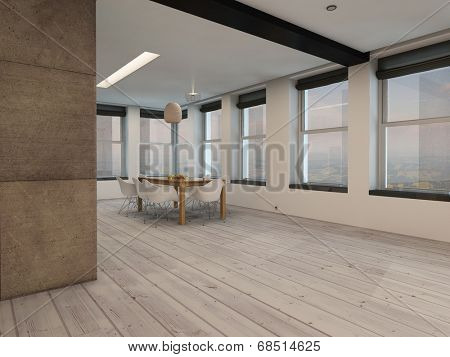 View around a corner of a spacious open plan dining room interior with multiple windows all round and a small modern dining table and chairs on bare wooden floorboards