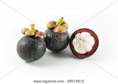 Mangosteen Isolated On White