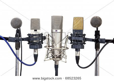 Several Conference Meeting Microphones On White Background