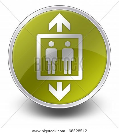 Icon Button Pictogram with Elevator Lift symbol poster