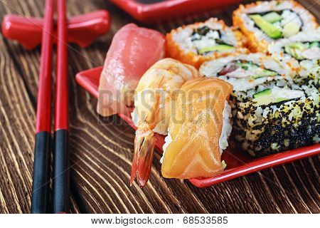 Rolls And Sushi And Chopstick