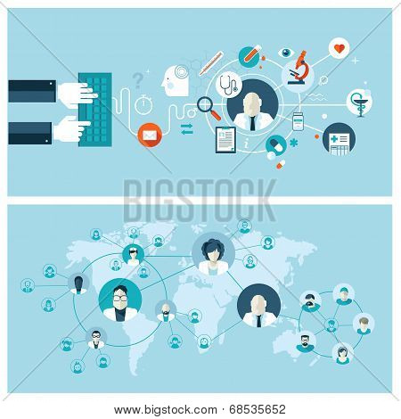 Set of flat design vector illustration concepts for online medical services and support
