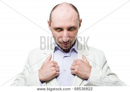 Man in suit  close up portrait with thumbs on the lapel