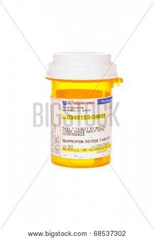 HAYWARD, CA - July 17, 2014: 50 tablet prescription of 800Mg Ibuprofen Tablets from Walgreens