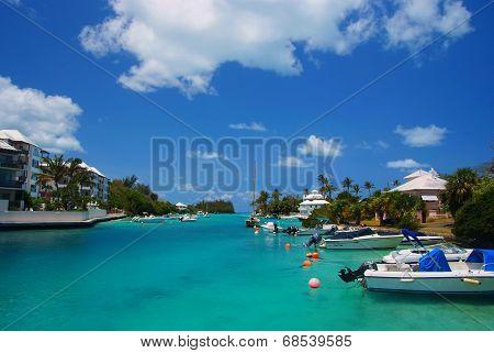 Hamilton, Bermuda-June 2009 : view of  Bermuda bay with boats and blue sky at summer 2009 near Hamiltomn, Bermuda