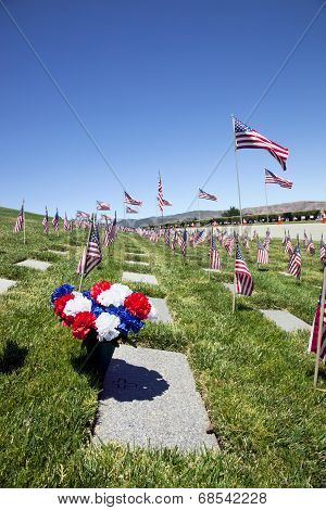 Coffin Flags At National Cemetery
