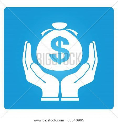 money bomb symbol in blue button, vector poster