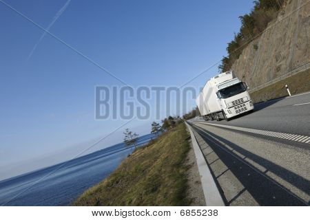 truck on scenic route